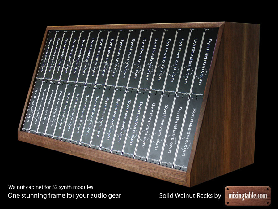 Solid Walnut Rack for 32 modular sythesizer units