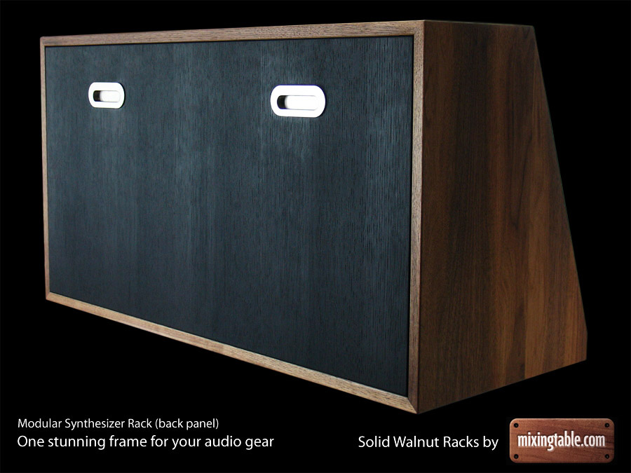 Solid Walnut Modular Synthesizer Rack (back) for 32 units by mixingtable.com