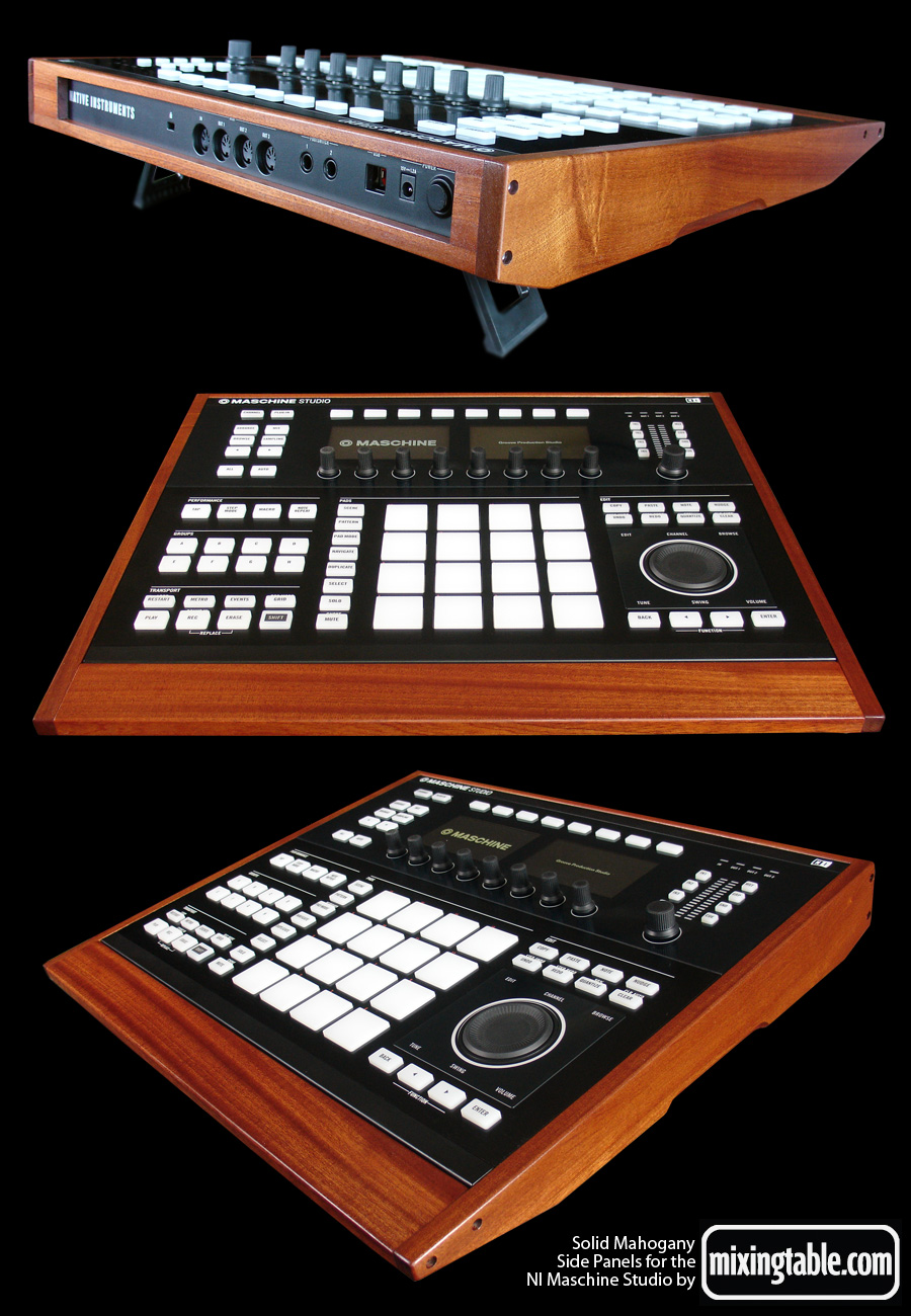 Solid Mahogany side panels for the Maschine Studio by mixingtable.com